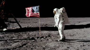FILE PHOTO: Astronaut Buzz Aldrin, lunar module pilot for Apollo 11, poses for a photograph besides the deployed United States flag during an extravehicular activity (EVA) on the moon, July 20, 1969. The lunar module (LM) is on the left, and the footprints of the astronauts are visible in the soil. Neil Armstrong/NASA/Handout via REUTERS/File Photo   ATTENTION EDITORS - THIS IMAGE HAS BEEN SUPPLIED BY A THIRD PARTY     TPX IMAGES OF THE DAY    PLEASE SEARCH