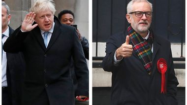 In this two photo combo image, showing the leaders of Britain's two main political parties outside their polling stations to vote Thursday Dec. 12, 2019, in the general election. At left is Conservative Party leader Boris Johnson at Methodist Central Hall in Westminster area of London, and photo at right shows Britain's Labour Party leader Jeremy Corbyn, in Islington area of London.  Voting is underway across the country in a general election that may resolve the stalemate over Brexit, widely seen as one of the most decisive votes in modern times. (AP Photo/Frank Augstein, Thanassis Stavrakis)                      (Foto: Frank Augstein, Thanassis Stavrakis)