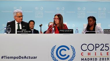 Carolina Schmidt, Chile's Minister of Environment and U.N. Climate Change Conference (COP25) President, closes the COP25, in Madrid, Spain December 15, 2019. REUTERS/Nacho Doce                       (Foto: NACHO DOCE)