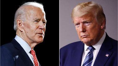 FILE - In this combination of file photos, former Vice President Joe Biden, left, speaks in Wilmington, Del., on March 12, 2020, and President Donald Trump speaks at the White House in Washington on April 5, 2020. Some of the countrys major sports betting companies are running contests in which participants predict things that will happen or be said during the presidential debate, Tuesday, Sept. 29, 2020, for the chance to win money. (AP Photo/File)