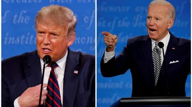 FILE PHOTO: A combination picture shows U.S. President Donald Trump and Democratic presidential nominee Joe Biden speaking during the first 2020 presidential campaign debate, held on the campus of the Cleveland Clinic at Case Western Reserve University in Cleveland, Ohio, U.S., September 29, 2020. REUTERS/Brian Snyder/File Photo                      (Foto: BRIAN SNYDER)