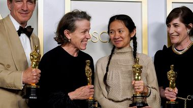 Peter Spears, Frances McDormand, Chloe Zhao and Mollye Asher, winners of the award for best picture for