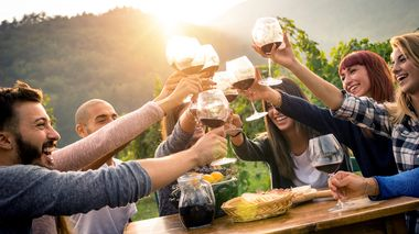 Happy friends having fun outdoor - Young people enjoying harvest time together outside at farm house vineyard countryside - Youth friendship concept - Hands toasting red wine glass at winery on sunset