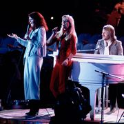FILE - Abba, from left, Anni-Frid Lyngstad, Agnetha Foltskog, Benny Andersson and Bjorn Ulvaeus perform at United Nations General Assembly, in New York, during taping of NBC-TV Special,