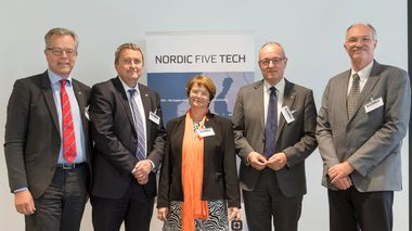 Trondheim 08.06.2016 : The leading technical universities in the Nordic countries (Aalto, Chalmers, DTU, KTH and NTNU) celebrate their 10th anniversary of collaboration with a high level summit. The rectors from left: Peter Gudmundson at KTH, Stefan Bengtsson at Chalmers, Tuula Teeri at Alto, Gunnar Bovim at NTNU and Anders O. Bjarklev at DTU. Photo: Thor Nielsen                       (Foto: Thor Nielsen)
